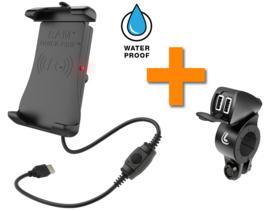 Combinatie: RAM Quick Grip draadloze oplader + Lampa USB Fix Trek