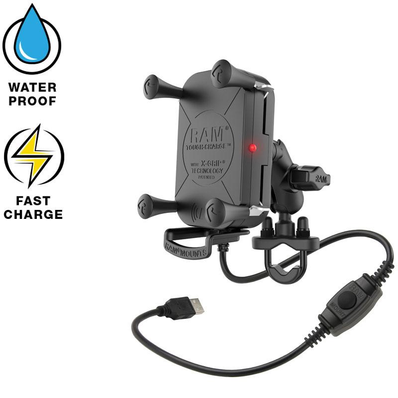 RAM Tough-Charge waterproof draadloze telefoonoplader stangbeugel (RAM-B-149Z-A-UN12W)