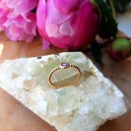 Amethist ring ( Goud op Zilver ) maat 17.5