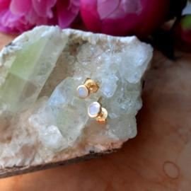 Regenboog Maansteen oorstekers ( Goud op Zilver )