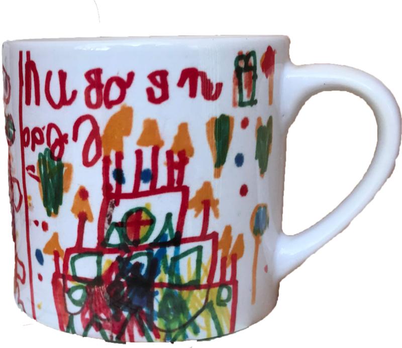 Kindertekening op koffiemok