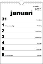 Groot letter kalender 2020
