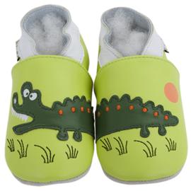 Zachte leren babyslofjes Krokodil gepersonaliseerd
