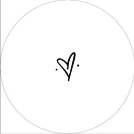 Wandcirkel hart (wit)