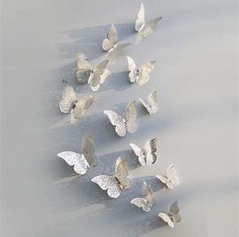 3D vlinders Zilver (12stuks)