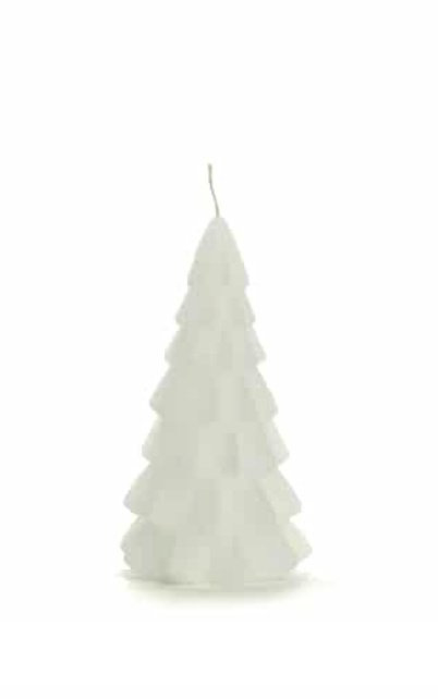 Rustik kerstboom kaars wit