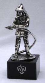 Brandweer beeldje tin