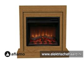 Complete Set - Aflamo haard met moderne ombouw Vigo Eiken 90 x 90 x 30cm