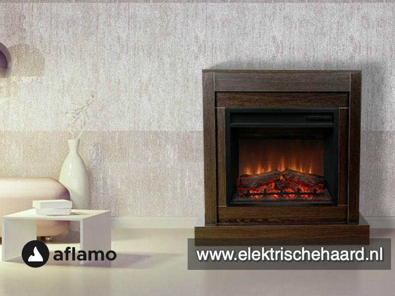 Complete Set - Aflamo haard met moderne ombouw Vigo Wenge  90 x 90 x 30cm