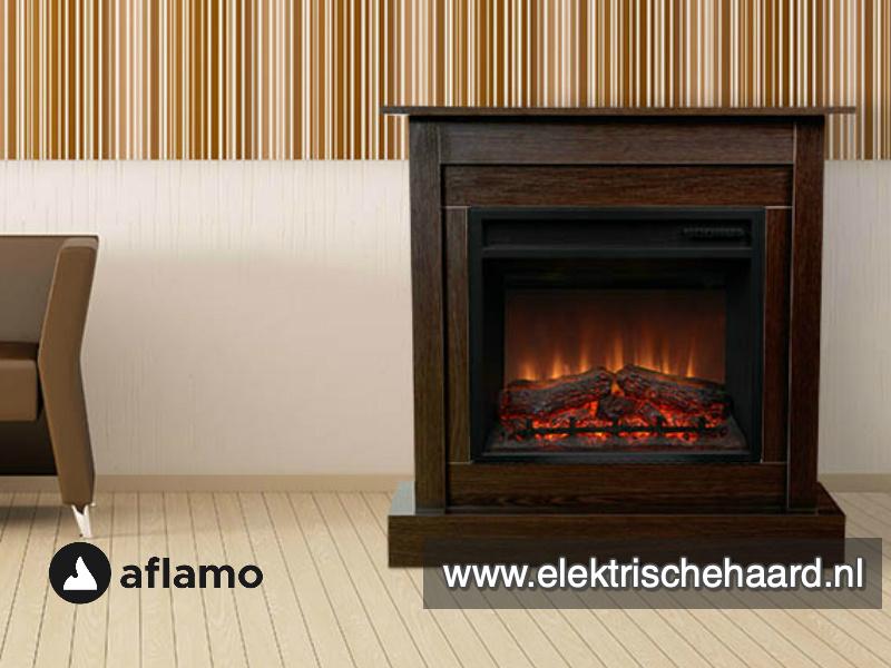 Complete Set - Aflamo haard met klassieke ombouw Vigo Wenge  90 x 90 x 30cm