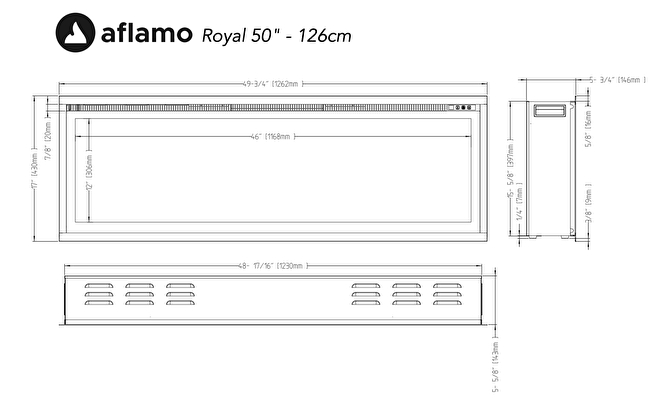 aflamo royal 126cm cinewall haard