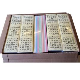 Overdoos bingobladen 1000 vel per pak in 10 kleuren.