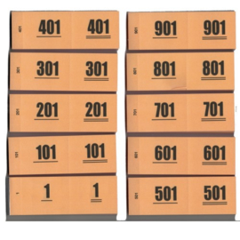 Nummerbloks (garderobe boekjes) 1-1000