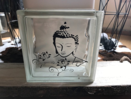 Glasblok met Buddha