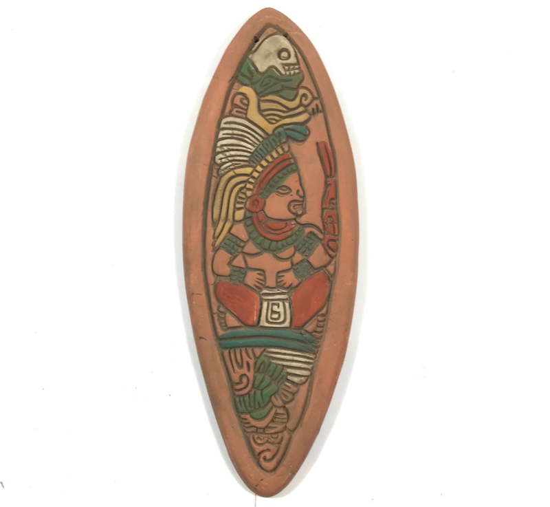 Mayan plaque 30cm aardewerk