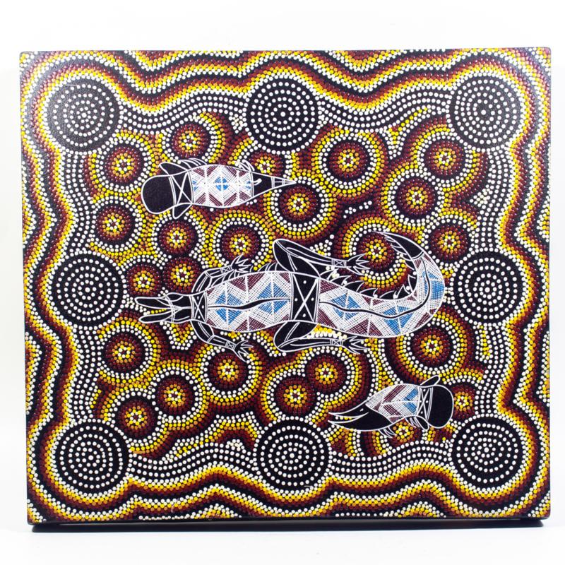 Schilderij met gecko dotprint. ca 45x50cm