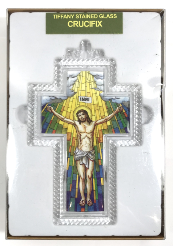 Crucifix with tiffany stained glass 15cm