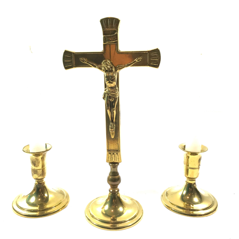 Brass crucifix and 2 candle holders with candles