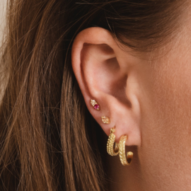 Oorringen chunky dots 14K gold plated