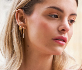 Zirconia chain earrings in gold plated sterling silver