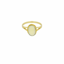 Oval Souvenir Ring Ivory - Gold Plated