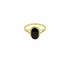 Oval Souvenir Ring Black - Gold Plated