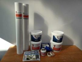 Complete set 100m2 renovlies 150 grams Glad met lijm, latex en benodigdheden