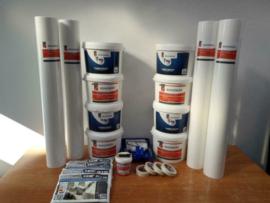 Complete set 200m2 renovlies 150 grams Glad met lijm, latex en benodigdheden
