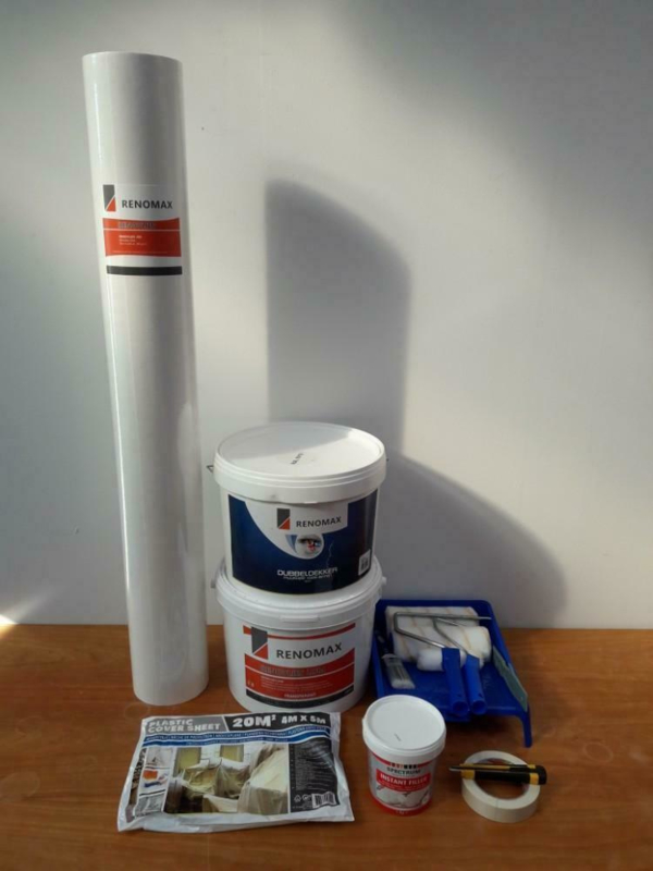 Complete set  50m2 renovlies 200 grams Glad met lijm, latex en benodigdheden