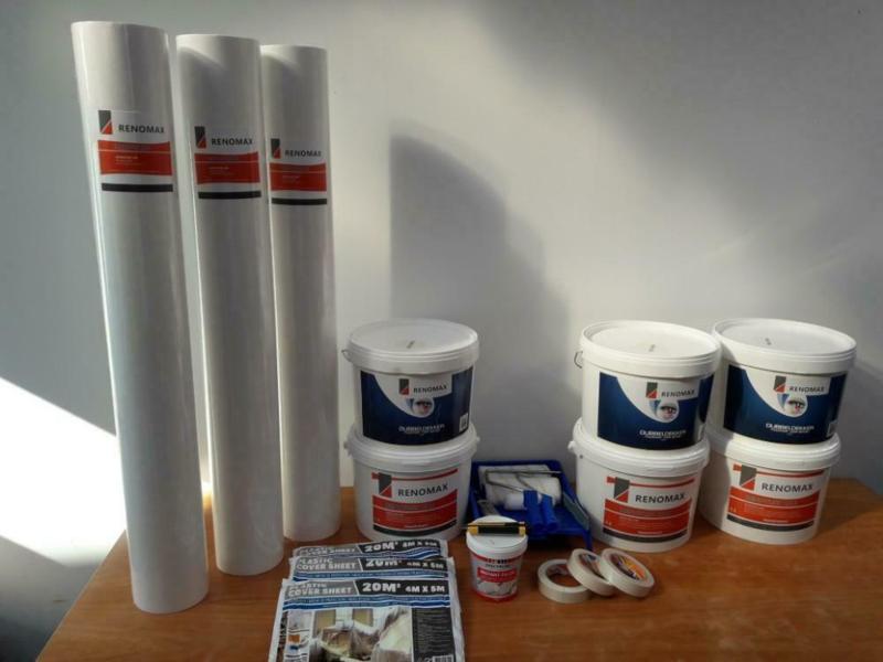 Complete set 150m2 renovlies 200 grams Glad met lijm, latex en benodigdheden