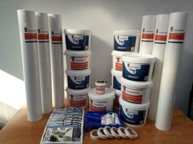 Complete set 300m2 renovlies 200 grams Glad met lijm, latex en benodigdheden