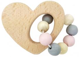 Hess Houten Rammelaar hart naturel/roze