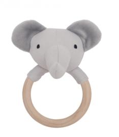Houten Ring rammelaar olifant