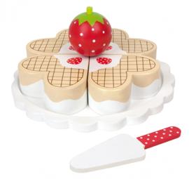 Houten speeltaart wafel
