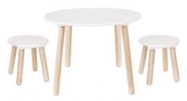 Houten tafel met 2 krukjes wit/naturel