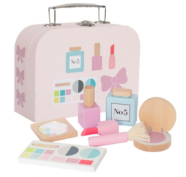 Koffer met houten make-upset