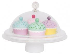Houten speelset cupcake met stolp