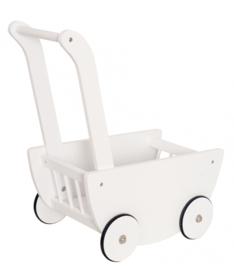 Houten poppen wandelwagen wit
