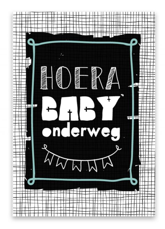 "Wenskaart ""Hoera baby onderweg"""