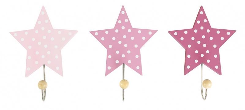 Kapstokhaken ster roze