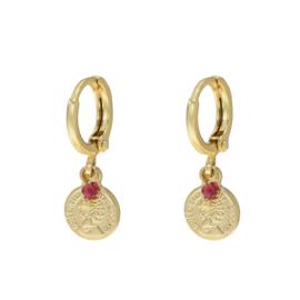 Oorbellen 'Coin' goudkleurig