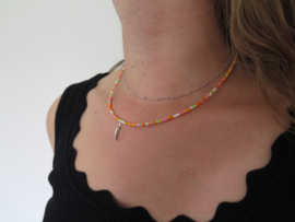 Ketting 'Multicolor with feather'