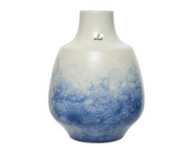 Keramieke vaas watereffect wit blauw