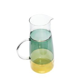Glazen water kan geel/groen