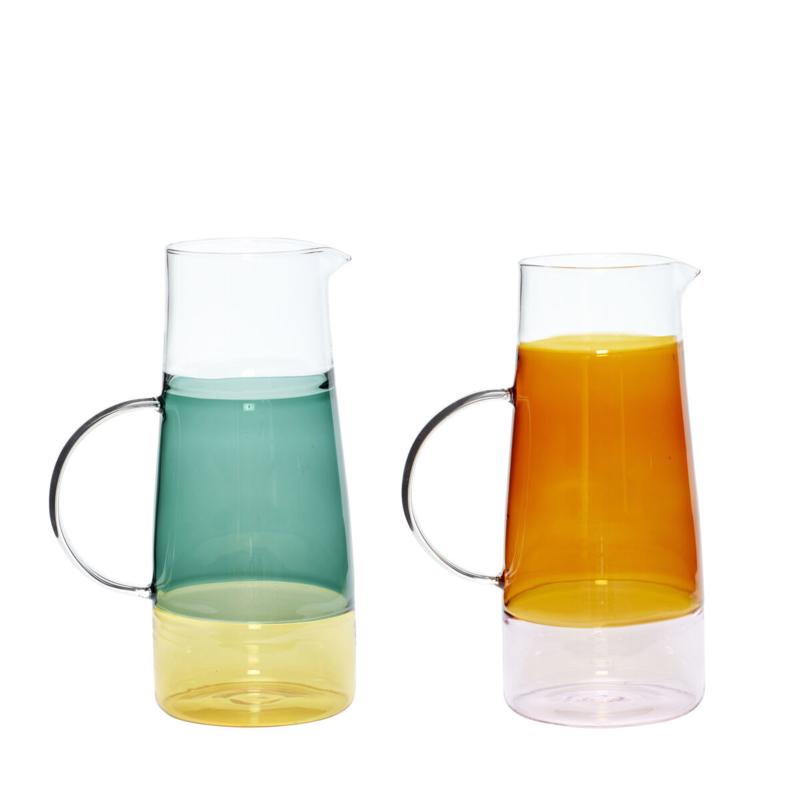 Glazen waterkan  pink / amber ( recast op de foto )