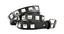 Black Leather Belts - Silver Studs long  (prijs per paar)