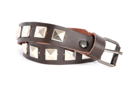 Brown leather Belts- silver Studs- Short  (prijs per paar)