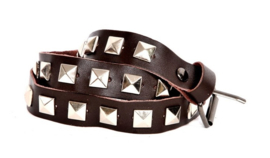 Brown leather Belts - Silver Studs long  (prijs per paar)
