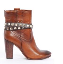 Brown leather Belts - Silver Studs long  (prijs per paar)