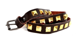 Brown Leather Belts - Golden Studs Long  (prijs per paar)
